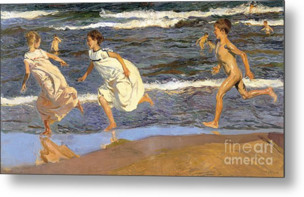 Running Along The Beach Metal Print