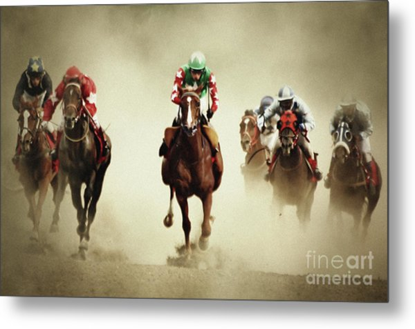 Running Horses In Dust Metal Print