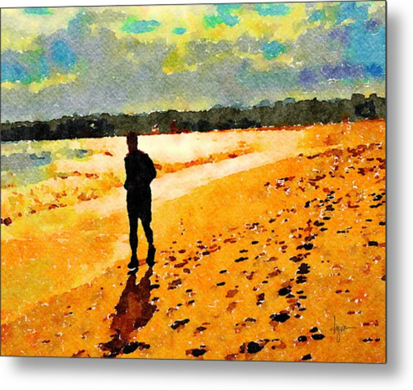 Metal Print featuring the painting Running In The Golden Light by Angela Treat Lyon