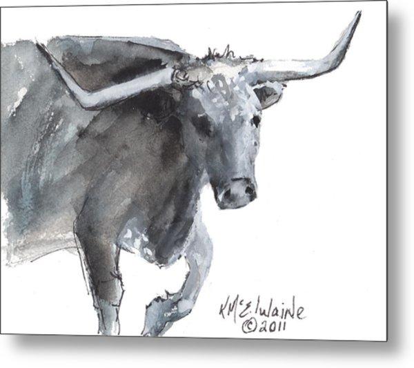 Running Texas Longhorn Watercolor Painting By Kmcelwaine Metal Print