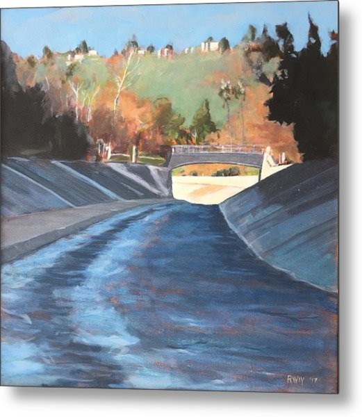 Running The Arroyo, Wet Metal Print