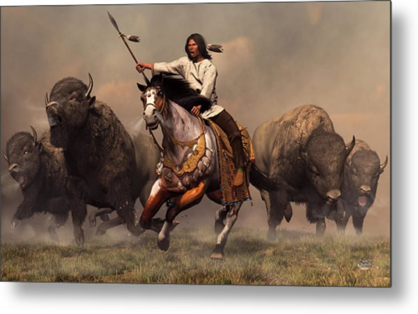 Metal Print featuring the digital art Running With Buffalo by Daniel Eskridge