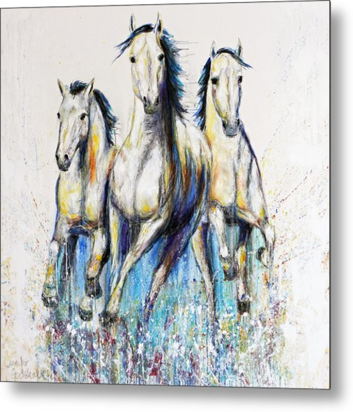 Running With The Herd Horse Painting Metal Print