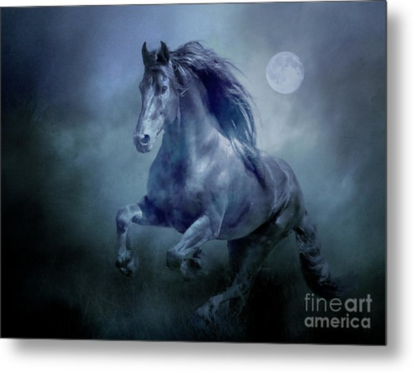 Running With The Moon Metal Print