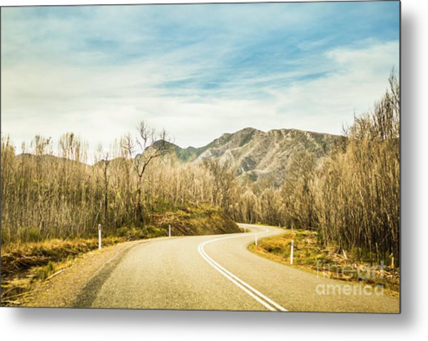 Rural Road To Australian Mountains Metal Print