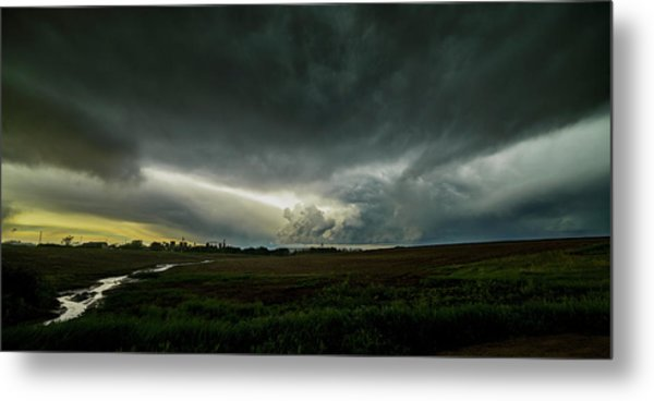 Rural Spring Storm Over Chester Nebraska Metal Print