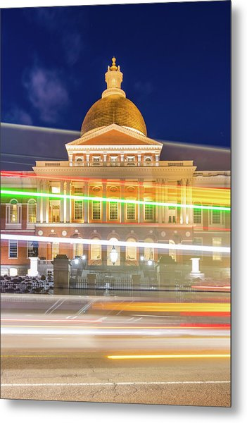 Rush Hour In Front Of The Massachusetts Statehouse Metal Print