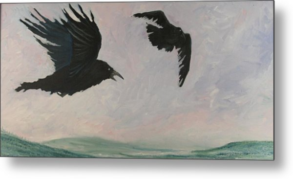 Rush Hour Ravens Metal Print by Amy Reisland-Speer