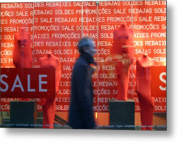 Rushing Away From The Sales Metal Print by Jez C Self