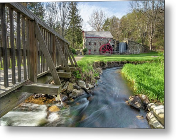 Rushing Water At The Grist Mill Metal Print