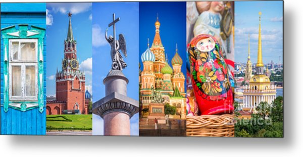 Russia Collage Metal Print