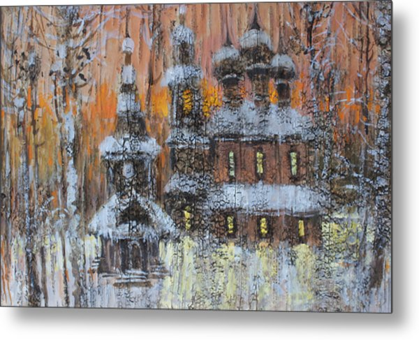 Russian Church Under Snow Metal Print