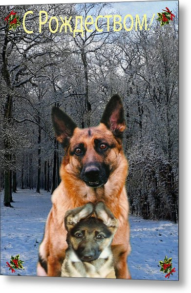Russian Holiday German Shepherd And Puppy Metal Print