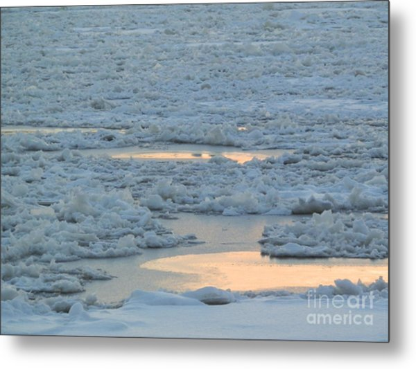 Russian Waterway Frozen Over Metal Print