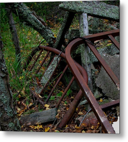 Rusted Bed Frame At Jackfish Ontario Metal Print by Laura Wergin Comeau
