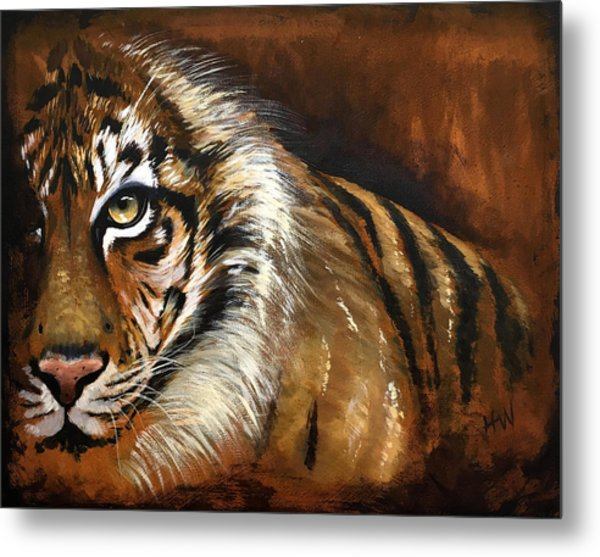 Rusted Tiger Metal Print by Holly Whiting