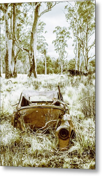 Rustic Australian Car Landscape Metal Print