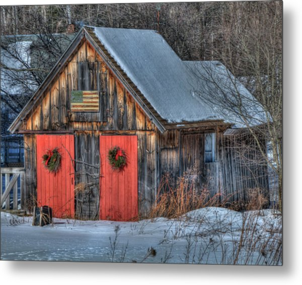Rustic Barn With Flag In Snow Metal Print
