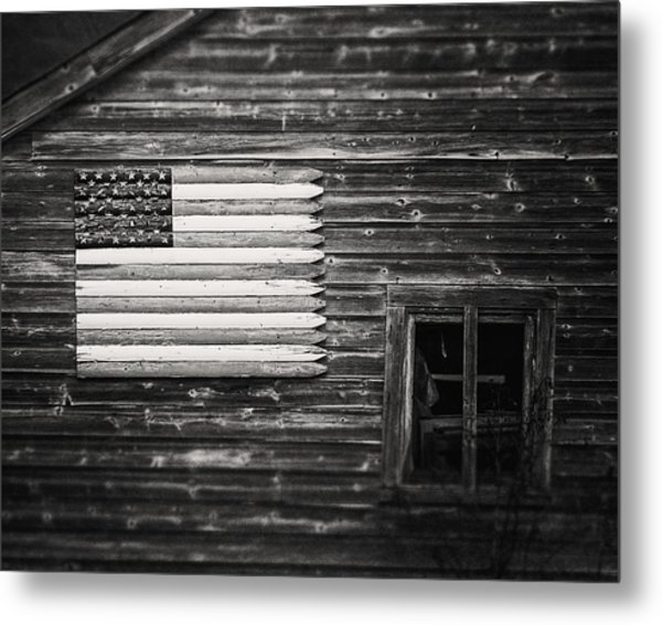 Rustic Black And White American Flag On A Weathered Barn Metal Print
