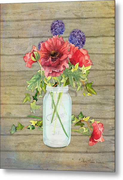 Rustic Country Red Poppy W Alium N Ivy In A Mason Jar Bouquet On Wooden Fence Metal Print