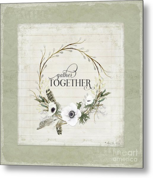 Rustic Farmhouse Gather Together Shiplap Wood Boho Feathers N Anemone Floral Metal Print