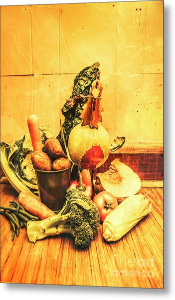 Rustic Vegetable Decor Metal Print
