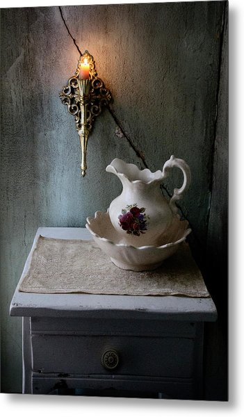 Rustic Water Closet With Brass Sconce And A Pretty Floral Patter Metal Print