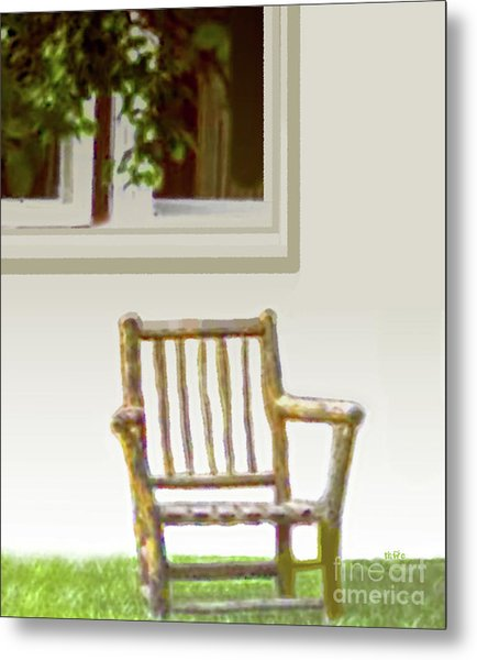 Rustic Wooden Rocking Chair Metal Print