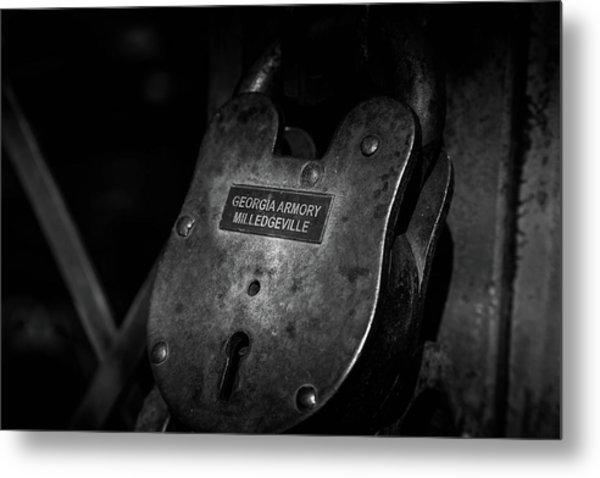 Metal Print featuring the photograph Rusty Lock In Bw by Doug Camara
