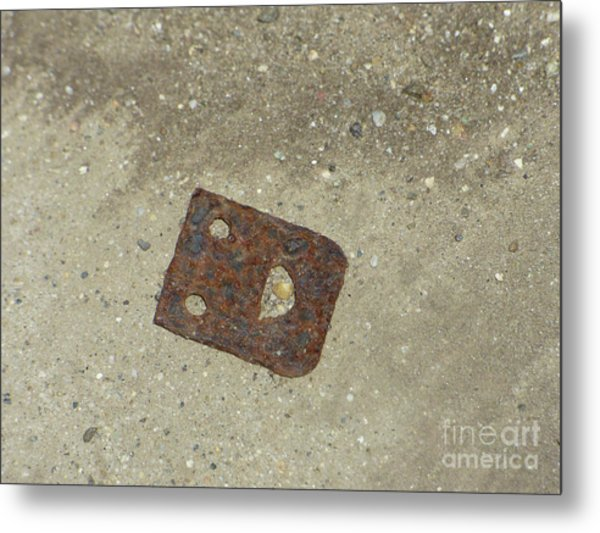 Rusty Metal Hinge Smiley Metal Print