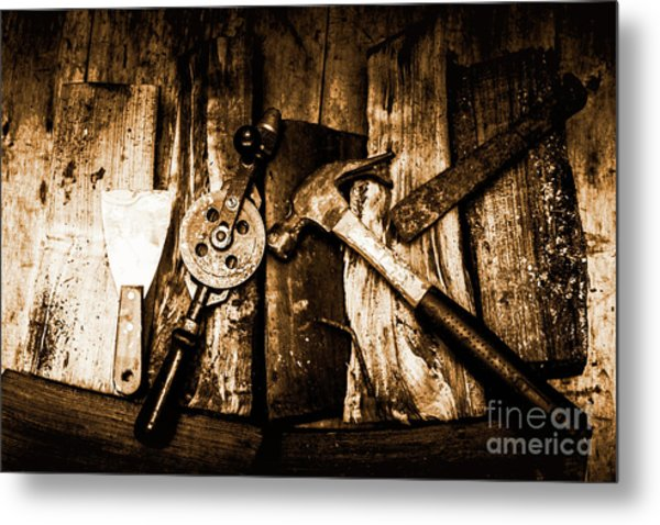 Rusty Old Hand Tools On Rustic Wooden Surface Metal Print