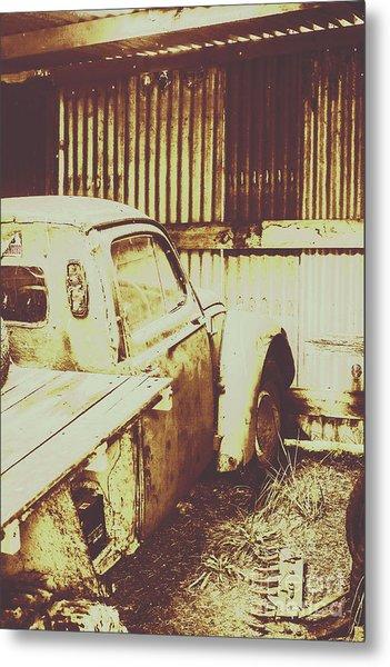 Rusty Pickup Garage Metal Print