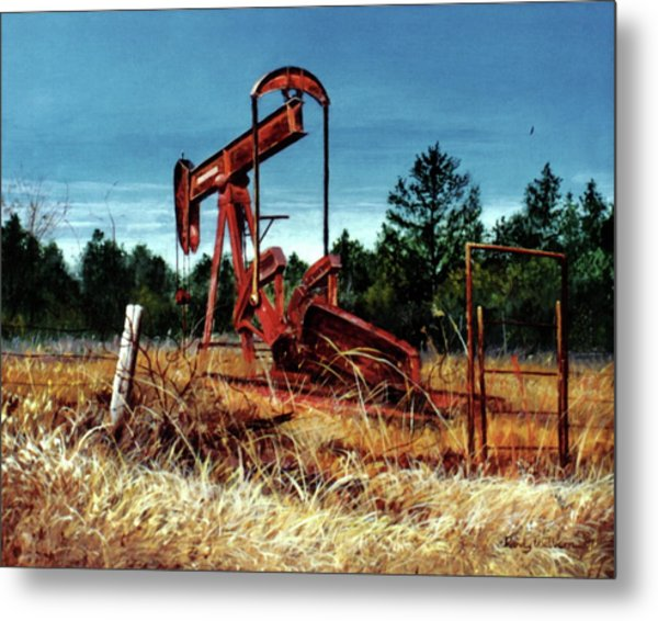 Rusty Pump Jack Metal Print