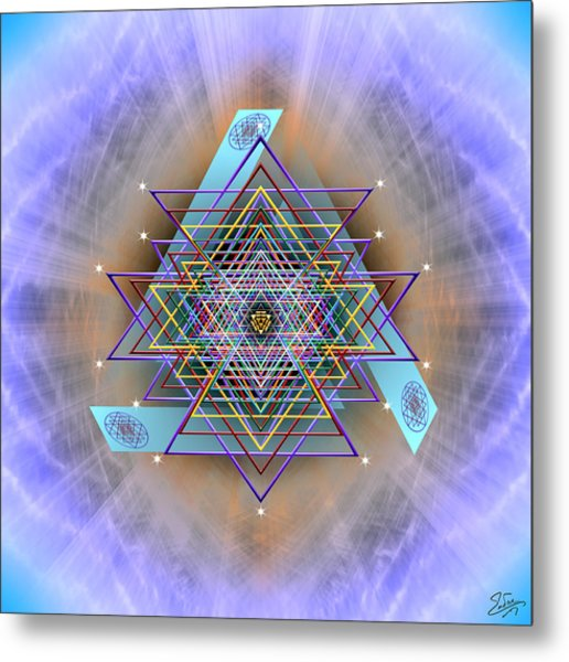 Metal Print featuring the digital art Sacred Geometry 717 Version 2 by Endre Balogh