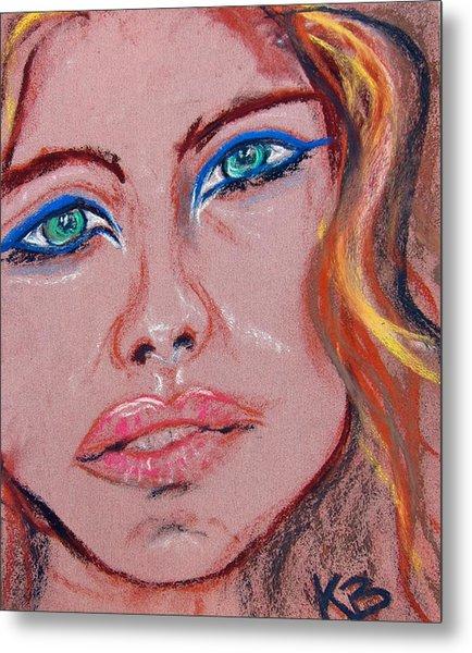 Sad Blue Eyes-framed Metal Print