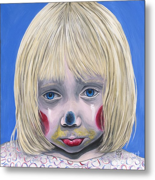 Sad Little Girl Clown Metal Print
