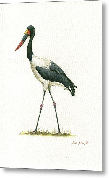 Saddle Billed Stork Metal Print