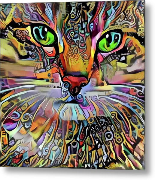 Sadie The Colorful Abstract Cat Metal Print