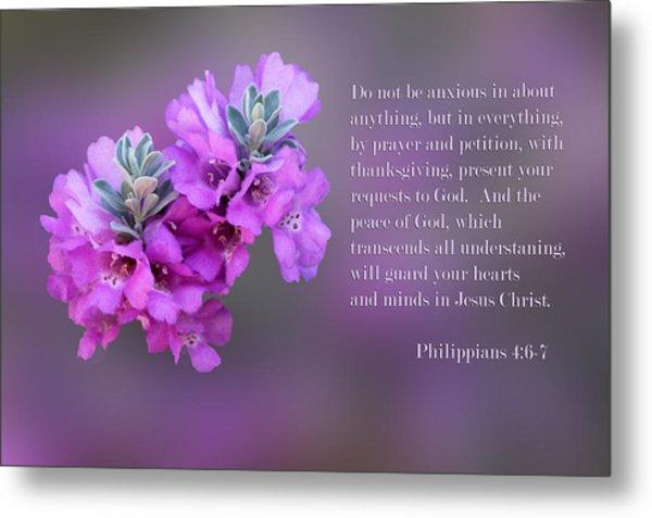 Sage Blossoms Philippians 4 Vs 6-7 Metal Print