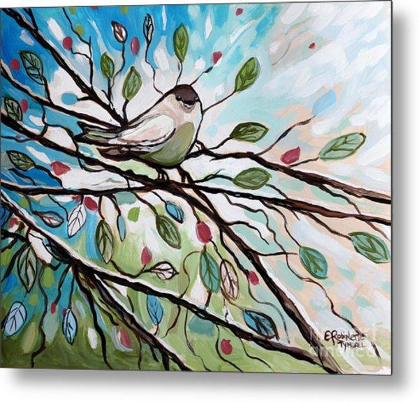 Sage Glimmering Songbird  Metal Print