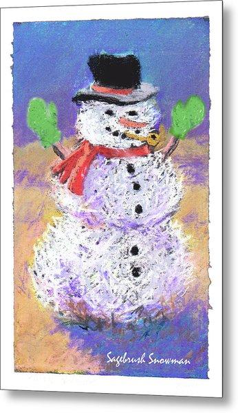 Sagebrush Snowman With Green Mittens Metal Print