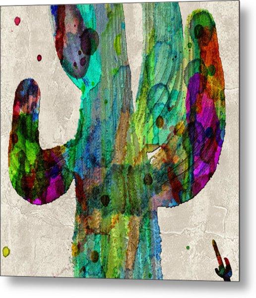 Saguaro Cactus Rainbow Print Poster Metal Print