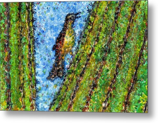 Saguaro Cactus With Woodpecker Metal Print by Cynthia Ann Swan