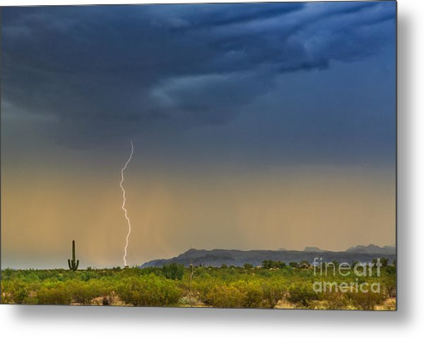 Saguaro With Lightning Metal Print