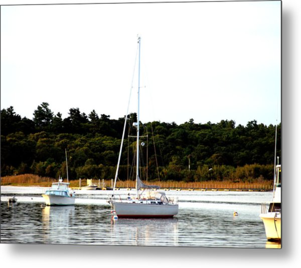 Sail Boat At Anchor  Metal Print