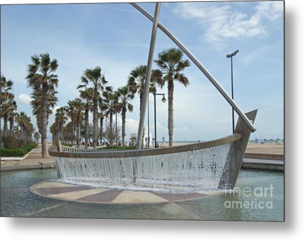 Sail Boat Fountain In Valencia Metal Print