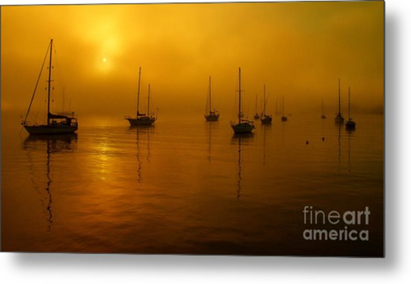 Sail Boats In Fog Metal Print