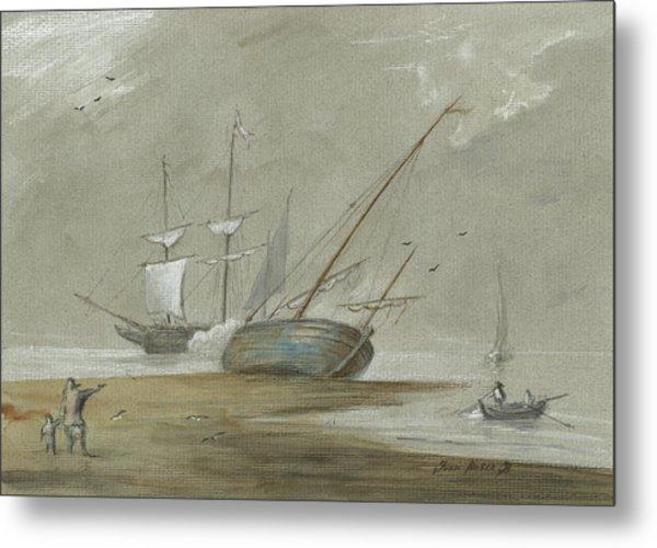 Sail Ships And Fishing Boats Metal Print