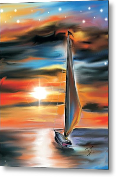 Sailboat And Sunset Metal Print