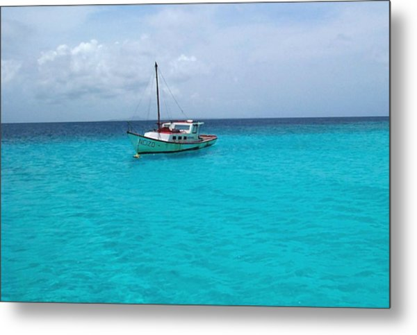 Sailboat Drifting In The Caribbean Azure Sea Metal Print